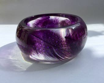 Purple feather bracelet,purple feather bracelet resin feather bracelet resin feather bangle