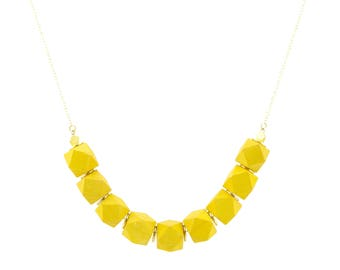 Yellow colored wood and gold bead chain necklace - Summer necklace - Anniversary gift idea- Free Shipping
