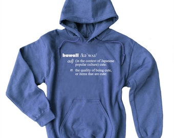 Kawaii sweatshirt - definition of kawaii hoodie - harajuku aesthetic - cute oversized sweatshirt - super soft hoodie in blue purple green