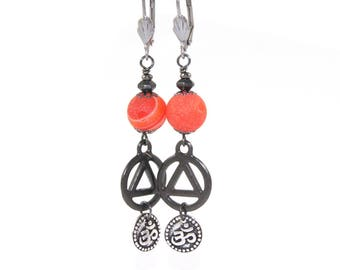 Recovery Earrings, Unity & Om Charms, Orange Quartz with Stainless Steel Ear Wires