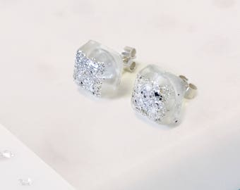 Silver memorial ashes/hair square resin stud earrings