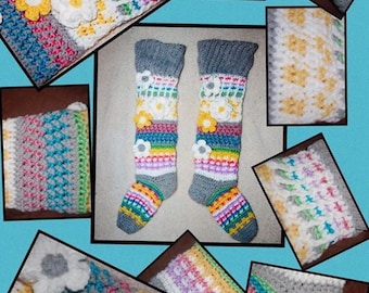 Fancy Flower Knee High Socks Crochet Pattern