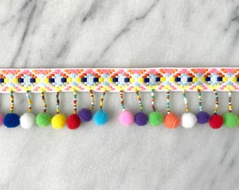 Pom Pom Beaded Embroidered Trim in Ivory Rainbow - By the Yard