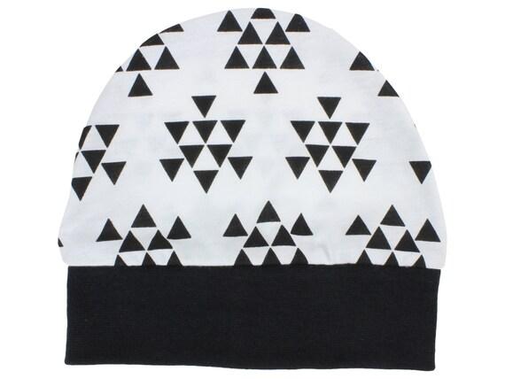 Triangle Jersey Knit Boy Baby Beanie Hat Unisex Black and White Baby Newborn Beanie Toddler Beanie Slouch Beanie Baby Gift