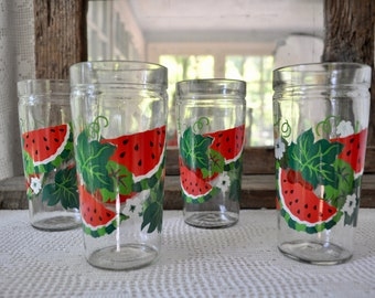Retro Summer Glassware/Four Large Sturdy Vintage Tumblers With Jelly Jar Tops and Watermelon Decoration