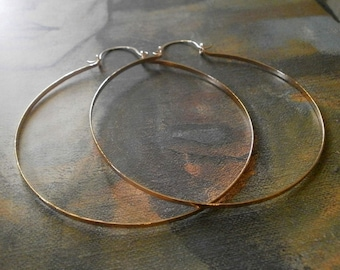 """Big Rose Gold Hoops 3"""" 14k Rose Gold Fill Hinged Hoops Large Hammered Hoops Wire Jewelry Gold Statement"""