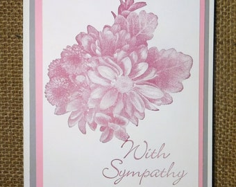 Sympathy Card, Pink, Gray, Floral, Homemade