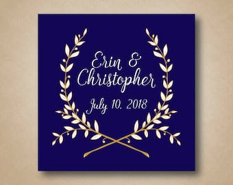 Wedding Favor Labels Customized Wedding Stickers Thank You Stickers Wedding Favor Tags Navy and Gold Wedding Personalized Sticker Labels