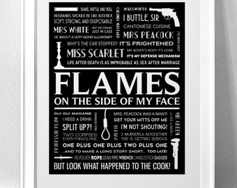 "CLUE, ""FLAMES ..on the side of my face"" Typography Print"