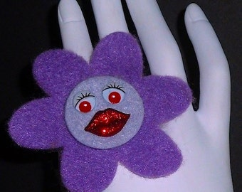Purple Angelina (Funky Felt Flowers Cocktail Ring)