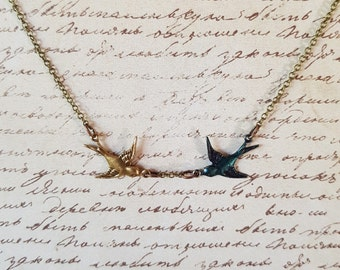 Swooping Swallows Necklace, Bluebirds of Happiness, Charm Necklace, Sparrow, Swift Necklace