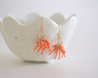 Coral Branch Cluster Circle Earrings, Gold Filled