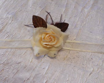 Ribbon wedding ivory and Brown Flower Adornment