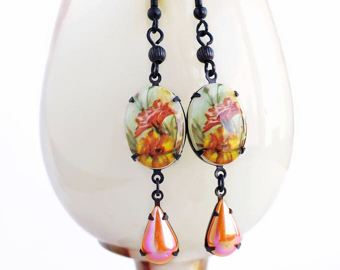 Floral Cameo Earrings Vintage Glass Flower Cabochons Orange Pink Victorian Jewelry Gift For Women