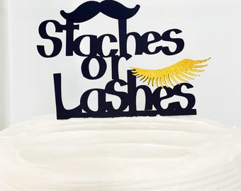 Staches or Lashes Cake Topper - Gender Reveal Baby Shower