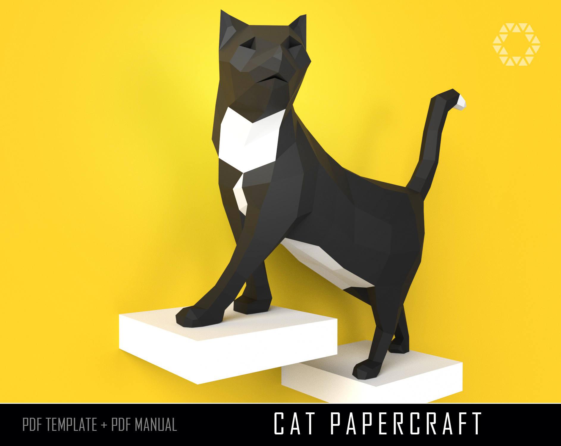 Papercraft cat papercraft diy papercraft cat paper craft cat zoom jeuxipadfo Image collections