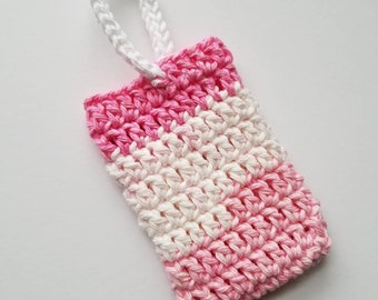 Strawberry Shortcake Crochet Soap Saver, SOAP COZY, Soap Pouch, Crochet Washcloth, Ready to Ship