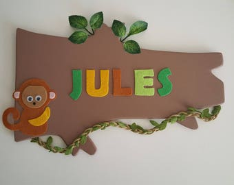 plate name nursery kids baby boy jungle monkey green brown Creeper deco handmade fingers in jam