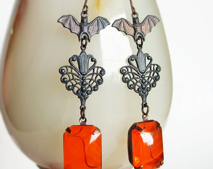 Large Black Bat Earrings Orange Glass Earrings Goth Noir Jewelry Vintage Glass Rhinestones Black Metal Bat Jewelry Large Statement