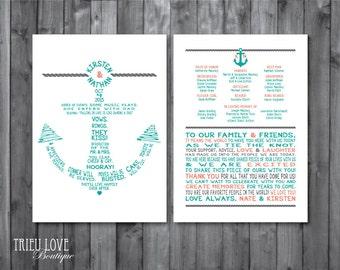 Double-sided Anchor | Nautical Wedding Ceremony Program - Fully Customizable Wording - Digital Printable (5x7 or Custom Size)
