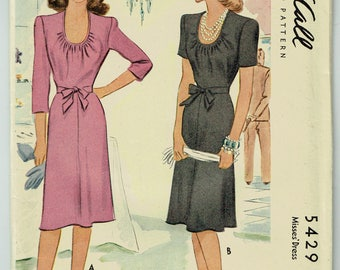 "Vintage Sewing Pattern 1940s Dress McCall 5429 Size 34"" Bust - Free Pattern Grading E-book Included"