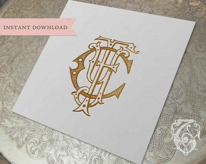 3 Initial Vintage Monogram FCY  Three Letter Wedding Monogram Digital Download CYF  YFC yCf