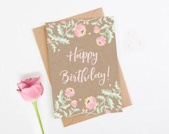 Birthday Card Kraft Pink Floral