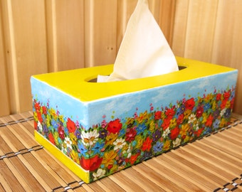 Tissue box cover Living room decor Bedroom decor Tissue box holder Wooden tissue box Housewarming gift Table decoration Summer gift