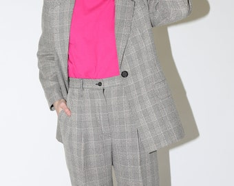 Plaid Knit Suit Set / Gray Plaid Matching Pant Suit / M Medium 27 Inch Waist