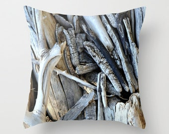 Driftwood Pillow, Throw Pillow, Home Decor, Beach Decor