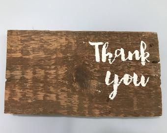 Thank you on barn wood ~ gift