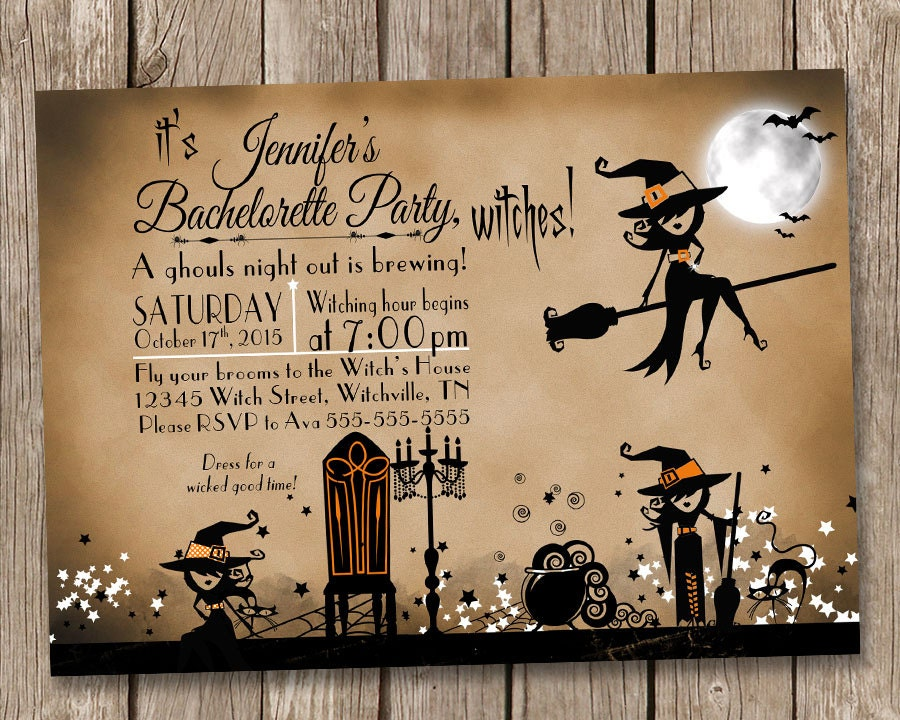 Vintage Witch Bachelorette Party Invitation