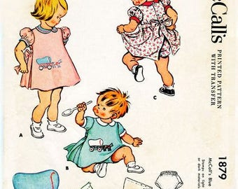 1950s Toddler Apron & Panties Boy or Girl Sleeve Variations McCall's 1879 Size 1 Complete w/Transfer Vintage Child's Vintage Sewing Pattern