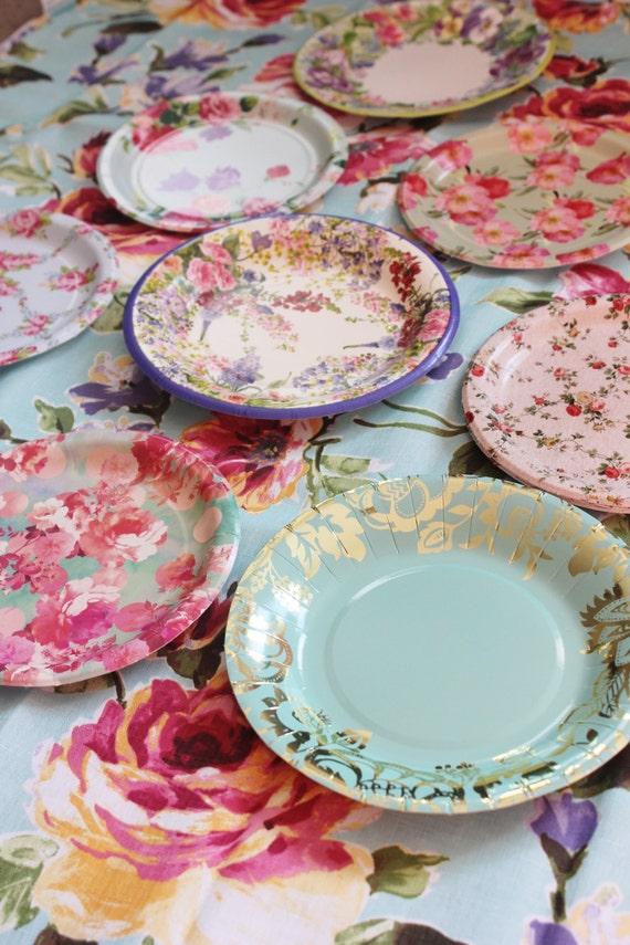 $20.00 & 8 FLORAL TEA PARTY Paper Plates Mismatched China Parisian Vintage ...