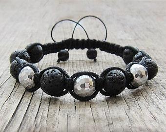 Shamballa bracelet Black Volcanic stone bracelet Hematite jewelry Mala beads Macrame Knotted bracelet Cord bracelet Makramee armband