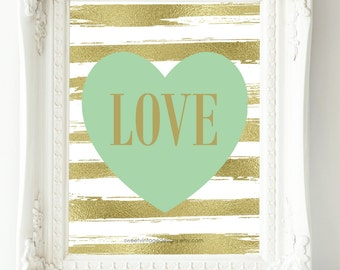 Nursery Art Printable, Mint Gold Nursery Decor, Instant Download, LOVE Print, Baby Gift, New Mom Gift, Nursery Wall Art, Baby Girl Nursery