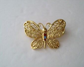 DANECRAFT Gold Tone Butterfly Brooch