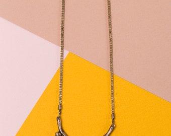 Long necklace, Brass necklace, Oxidized brass, Statement necklace, Tribal necklace, Unique necklace, Large pendant necklace, Boho necklace