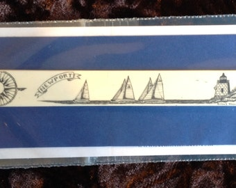 Bookmark-Polymer Reproduction Scrimshaw-America's Cup off Castle Hill Light.