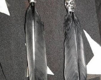 Black Feather Skull Earrings...