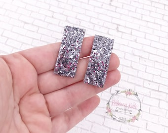 Slate Silver Glitter Snap Clips/Non shed glitter clips/Snap clips/Sparkly Hair Clips/Valentine's Day