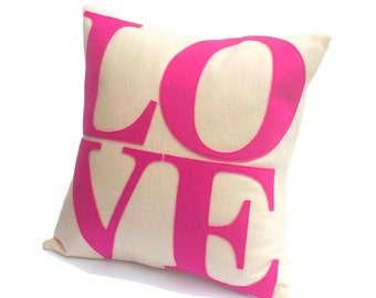 LOVE Throw Pillow Cover Appliquéd in Pink on Antique White Eco-Felt 18 inches