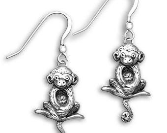 SS Hanging Monkey Earrings