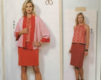 Butterick B6464, Size 14-16-18-20-22, Misses' Jacket, Top and Skirts Pattern, UNCUT, Halter Top, Pull On Skirt, Loose Jacket, Lisette