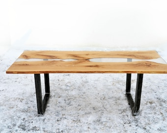 Resin Dining table - Wooden table - Oak - Transparent resin - Handcrafted - Handmade - Living room decor - Unique design - Natural wood