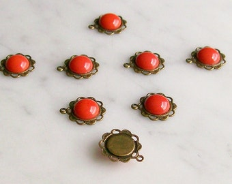 8 Antiqued Brass Findings Settings Orange Glass Cabochons