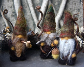 Little Bearded Woodland Gnome miniature needle felt (1) gnome made to order (woolcrazy)