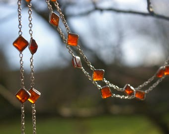 Carnelian, symbol of happiness and serenity necklace