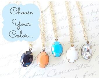 Wählen Sie Ihre Farbe - Crystal Charm Halskette - Strass Gem - Harz Charme