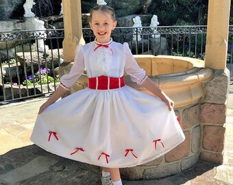 Mary Poppins White Jolly Holiday Costume Dress and Corset